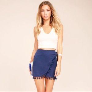 Lulu's / Take It Easy Tassel Wrap Skirt //  Small
